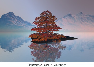Beautiful tree, 3d rendering an autumn landscape, a small island on the lake, snowy mountains, reflection on water, and a hazy sky.