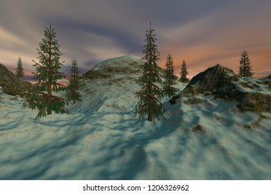 Beautiful trees, 3d rendering, a natural landscape, snow on the ground and colored clouds in the sky.