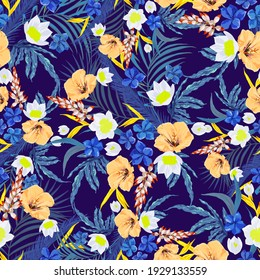 Beautiful tropical flowers. Seamless print design. Surface pattern with exotic floral motif.