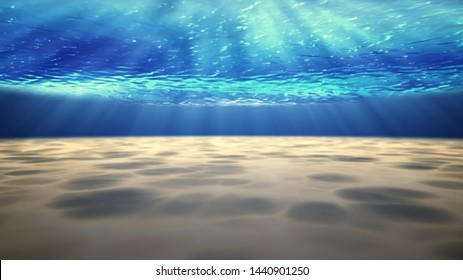 Beautiful underwater sea scene view and ripples with sun light beams shining from above coming through the deep clear blue water causing a beautiful ocean waves rippler.  3D illustration