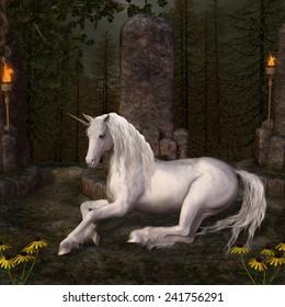 Beautiful unicorn in a glade