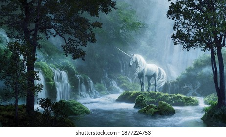 A beautiful unicorn in a magical forest - digital illustration