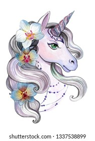 Beautiful unicorn with orchids in the mane - a print for t-shirts, stickers, children's clothing and accessories. Feminine fantastic watercolor drawing