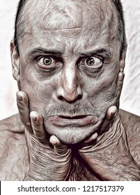 Beautiful and unique cartoon illustration of madness, man suffering with mental disorder and schizophrenia, artistic portrait of ugly man, skin texture