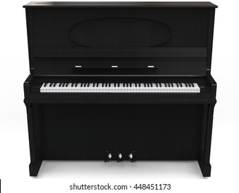 Beautiful upright piano - isolated on white background - 3D render