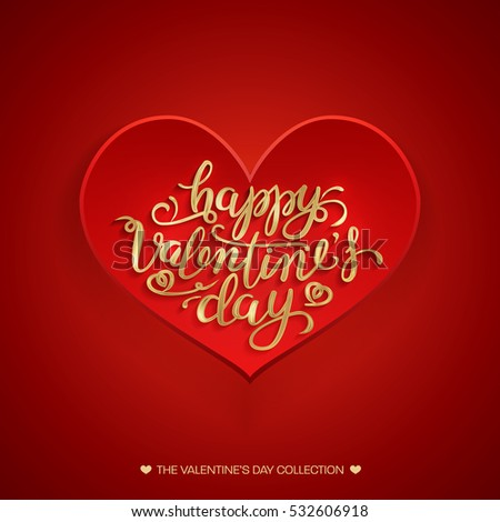 Beautiful valentines card happy valentines day stock illustration beautiful valentines card happy valentines day gold hand drawing vector lettering design red greeting m4hsunfo
