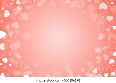 beautiful valentine's day abstract background with salmon hearts backdrop