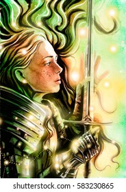 Beautiful Valkyrie admires her sword, painted watercolor
