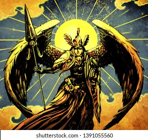 Beautiful valkyrie in armor with large wings, spear and shield.,against the Golden sun in the sky with clouds and stars