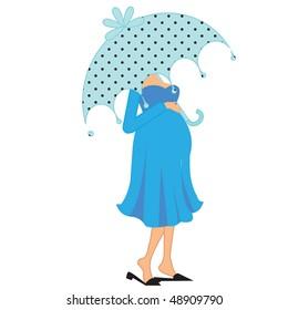 a beautiful vector illustration of a pregnant woman under Umbrella
