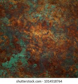 Beautiful verdigris oxidized copper background