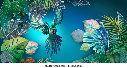 Beautiful, vibrant, multi-colored tropical wallpaper, photowallpaper, mural, with a parrot. Drawn mural. Bright flying parrot among tropical leaves.