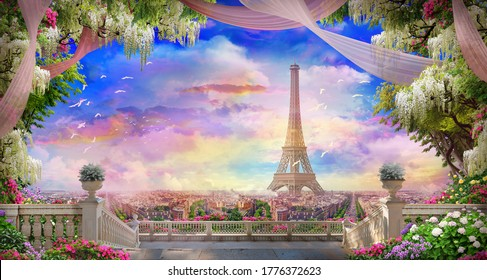 Beautiful view from the  flower-covered balcony to the Eiffel tower and pink sunset. Digital collage , mural and fresco. Wallpaper. Poster design. Modular panno. 3d render