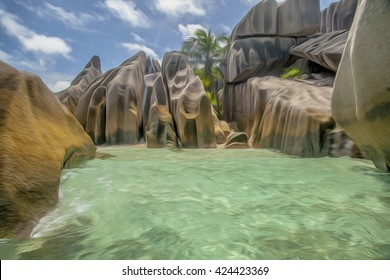 Beautiful view of the rocks and the sea in the Seychelles