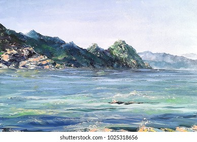 Beautiful view of sea coast near port Centuri Cap Corse Corsica, France Original oil painting on canvas for print  Fragment of artwork Close up painted illustration for bar restaurant cafe hotel gift
