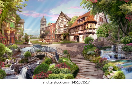 Beautiful view of the street with waterfalls, in flowers and sunshine. Digital fresco, mural. Wallpaper. 3d render