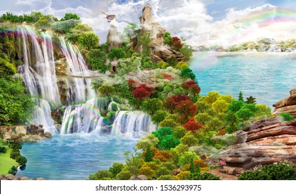 Beautiful views of the forest and lake with a waterfall. 3D image