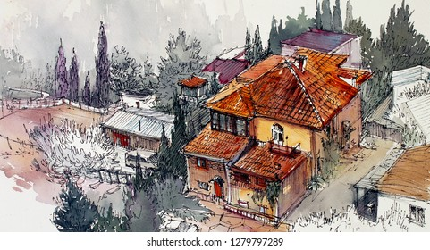 Beautiful village house with tiled roof watercolor poster canvas art background