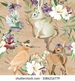 Beautiful, vintage, enchanted woodland, forest animals and birds with flowers, old wood branches and bows seamless, tileable pattern. Deer, bunny, bird, whimsical animals