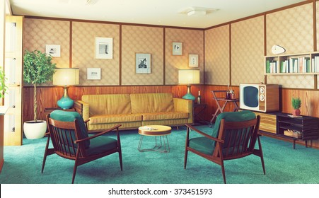 beautiful vintage interior. wooden walls concept. 3d rendering