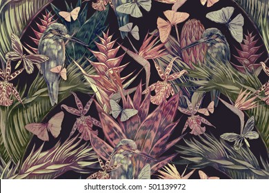Beautiful vintage seamless floral tropical pattern background. Palm leaves, trees, tropical flowers, jungle leaf, plants, cactus, orchid, bird of paradise flower, exotic birds, kingfisher,butterflies