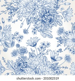 Beautiful vintage seamless pattern with blue bouquets of flowers. Garden asters, chrysanthemums, daisies. Raster monochrome illustration.
