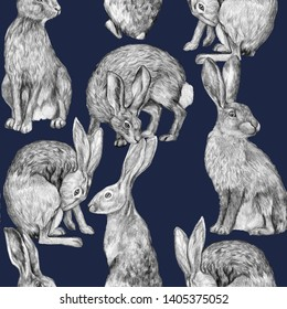 Beautiful vintage seamless pattern. Pencil drawing hares in various poses. Graphic drawing of rabbits on a dark blue background. Realistic wild animals. Wallpaper bunny.