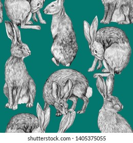 Beautiful vintage seamless pattern. Pencil drawing hares in various poses. Graphic drawing of rabbits on a turquoise background. Realistic wild animals. Wallpaper bunny.