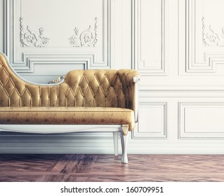 Beautiful vintage sofa next to wall  (retro-style illustration)