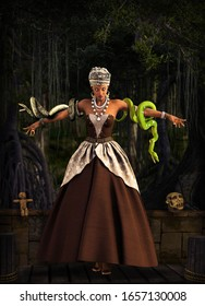 Beautiful Voodoo Queen with a snakes, performing a magical ritual in a swamp area, 3d render.