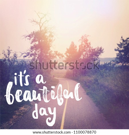Beautiful Walking Path Quote Beautiful Day Stock Illustration