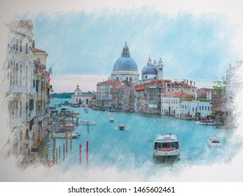 Beautiful water color painting of famous Canal Grande with Basilica di Santa Maria della Salute. View of Canal Grande from Accademia's bridge. Venice, Italy.