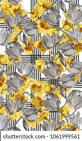 Beautiful Water Colored Yellow Flowers And Pencil Shaded Flowers With Vertical and Horizontal Lines on  White Background.