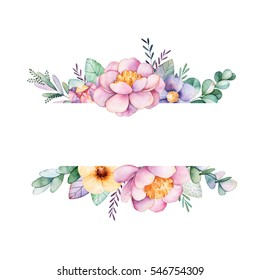 Beautiful watercolor border frame with peony,flower,foliage,branches and gemstones.Handpainted lovely illustration.Can be used for greeting card,wedding,Birthday and baby cards,invitation,lettering