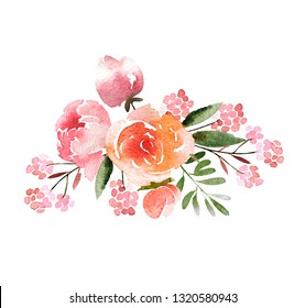 Beautiful watercolor bouquet isolated on white background. Floral watercolor bouquet for design, postcards, banners, emblems, logo.