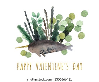 Beautiful watercolor bouquet with watercolor narwhale isolated on white background. Happy Valentine's Day postcard.