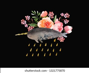 Beautiful watercolor bouquet with narwhale isolated on black background. Floral watercolor bouquet for design, postcards, banners. Ready to print postcard.