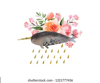 Beautiful watercolor bouquet with narwhale isolated on white background. Floral watercolor bouquet for design, postcards, banners, emblems, logo.