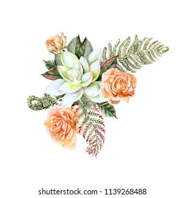 A beautiful watercolor bouquet with rose and succulent.  With leaves and fern.  Illustration