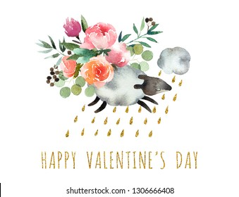 Beautiful watercolor bouquet with watercolor sheep isolated on white background. Happy Valentine's Day postcard.