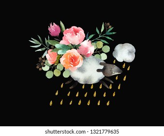 Beautiful watercolor bouquet with sheep isolated on black background. Floral watercolor bouquet for design, postcards, banners. Ready to print postcard.