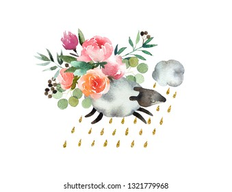 Beautiful watercolor bouquet with sheep isolated on white background. Floral watercolor bouquet for design, postcards, banners, emblems, logo.