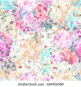 Beautiful watercolor Bouquet of  summer flowers seamless pattern.