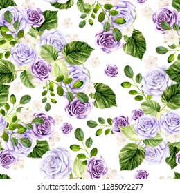 Beautiful watercolor bright pattern with roses flowers. Illustration