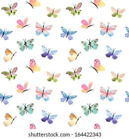 Beautiful watercolor butterflies pattern