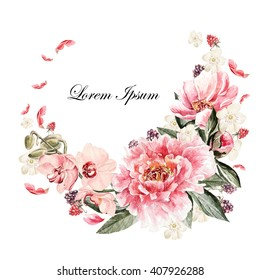 Beautiful watercolor card with Peony, orchid, roses flower and berries. Wedding wreath.