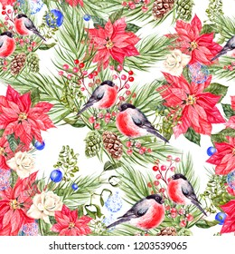 Beautiful watercolor Christmas pattern with bullfinch birds, pine cones and Christmas tree. Illustration