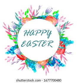 Beautiful watercolor Easter Day greeting card. Bright colorful hand painted floral composition and text Happy Easter.