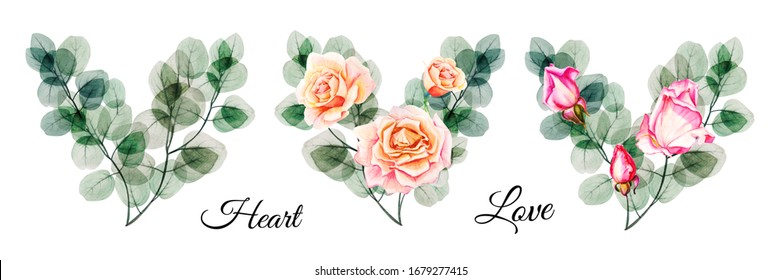 Beautiful watercolor eucalyptus and pink roses heart bouquets. Hand drawn set. For greeting cards, invitations, decoration, pattern, floral print, floristic design.  Wedding, birthday, Valentine, love