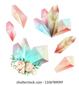 Beautiful watercolor fantasy pink magic crystals with flowers, pink rose and cream peony isolated on white